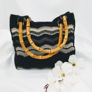 The Limited Black Grey Handmade Crocheted Tote